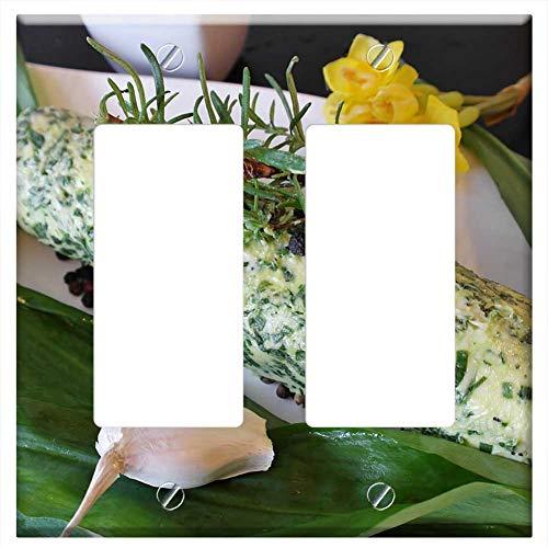 (Switch Plate Double Rocker/GFCI - Butter Bear Garlic Bear Garlic Butter Herbs)