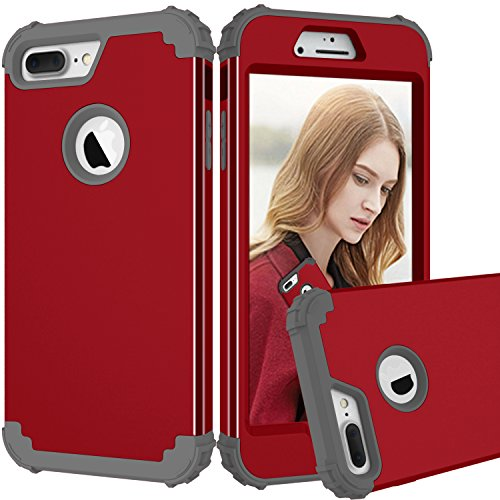 iPhone 7 Plus Case, MCUK 3 in 1 Hybrid Best Impact Defender Cover Silicone Rubber Skin Hard Combo Bumper with Scratch-Resistant Case for Apple iPhone 7 Plus (2016) (Red+Gray)