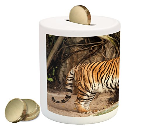 Ambesonne Tiger Piggy Bank, Portrait of an Alert and Angry Royal Bengal Feline Staring at Camera in Cave Print, Printed Ceramic Coin Bank Money Box for Cash Saving, Multicolor