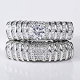 Double Layer Ring Zircon Pierced Ring (Size : 9)