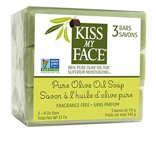 Natural Olive - Kiss My Face Naked Pure Olive Oil Moisturizing Bar Soap, 4ounce, 3 Count