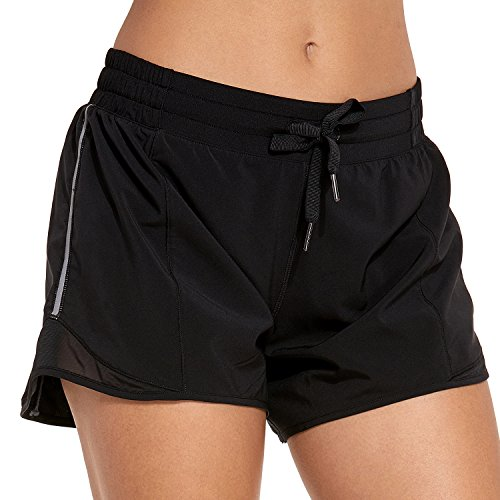 "CRZ YOGA Women's Drawstring Fitness Athletic Sports Running Shorts with Pocket – 4 inch Black – 4"" M(8/10)"