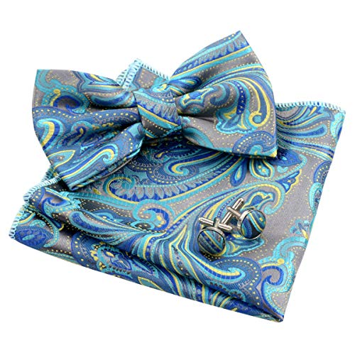 Alizeal Mens Multi-Color Floral Pre-Tied Bow Tie, Pocket Square and Cufflinks Set, Teal+Yellow+Royal Blue