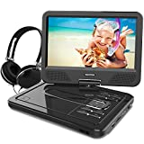 WONNIE 10.5 Inch Portable DVD Player with Rechargeable Battery, Swivel Screen, SD Card Slot and USB Port and Stereo Earphones (Black)