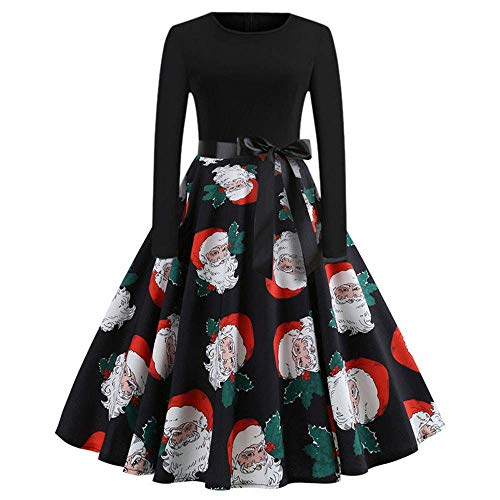 coollight Christmas Dress Womens Santa Claus Printed Gifts Xmas Dress(Black 1 X-Large) -