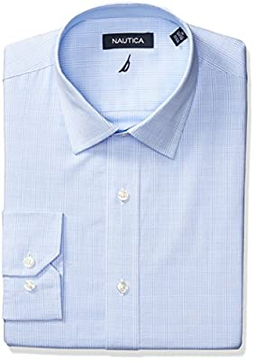 Nautica Men's Plaid Spread Collar Dress Shirt