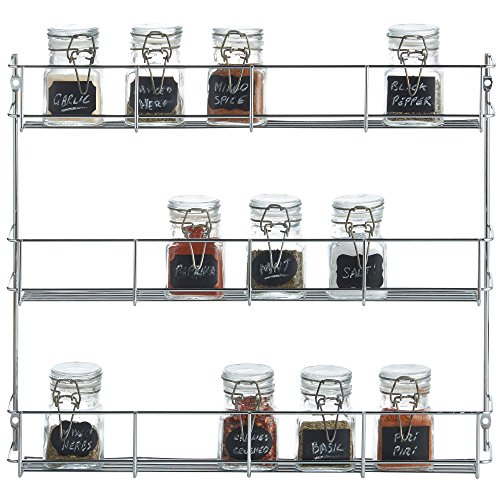 VonShef 3 Tier Spice Rack Chrome Plated (Easy Fix) For Herbs and Spices Suitable for Wall Mount or Inside Cupboard by VonShef
