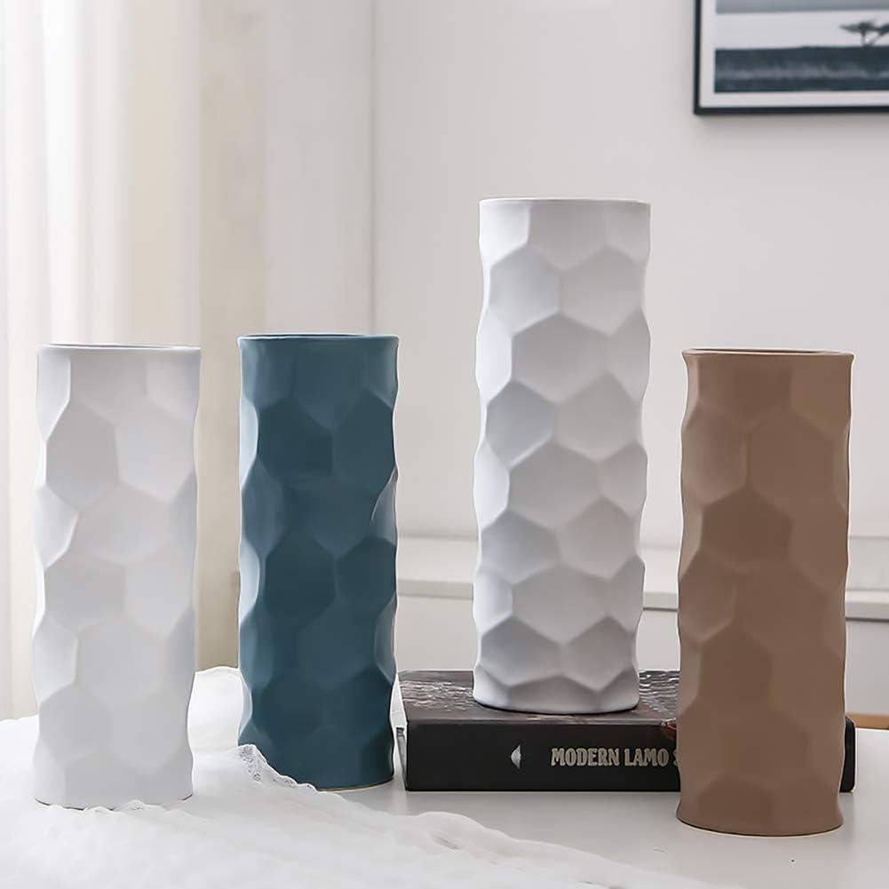 f/ête Centre de Table de Mariage Hetoco 25cm Vase de Fleur Blanc C/éramique vases decoratifs Design Haut pour Maison