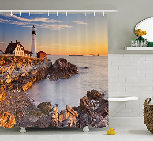 Elizabeth Lighthouse Cape (Ambesonne United States Shower Curtain, Cape Elizabeth Maine River Portland Lighthouse Sunrise USA Coast Scenery, Fabric Bathroom Decor Set with Hooks, 75 Inches Long, Light Blue Tan)
