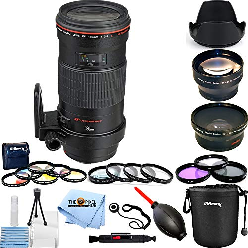 Canon EF 180mm f/3.5L Macro USM Lens (Black) 3 Lens Top Value Bundle with 3 Different Filter Kit Sets, Lens Pouch, Telephoto and Wide Angle Lens and More
