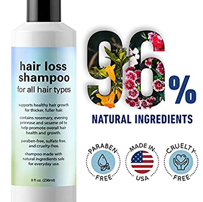 Hair Loss Shampoo for Thinning Hair – Anti Hair Loss Treatment for Women and Men – Natural Regrowth Oil Formula for Hair Loss Prevention and Dandruff reduction – Made in USA