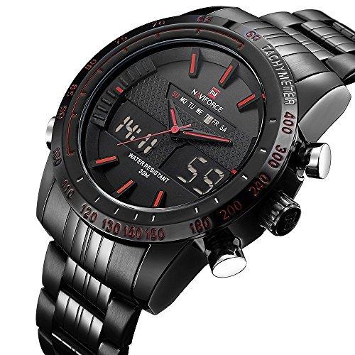 Mens Sports Quartz Watch Stainless Steel Mens LED Digital Waterproof Dual Display watches 9024