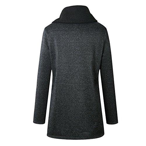 sudadera Jacket bolsillos Gris Hzjundasi cuello alto más invierno Mujeres Casual Coat largo Outwear Oscuro con cremallera tamaño Único wq4ExHqUv