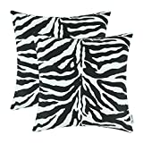 zebra decor for kitchen - CaliTime Pack of 2 Cozy Fleece Throw Pillow Cases Covers for Couch Bed Sofa Zebra Striped Printed Both Sides 18 X 18 Inches Black