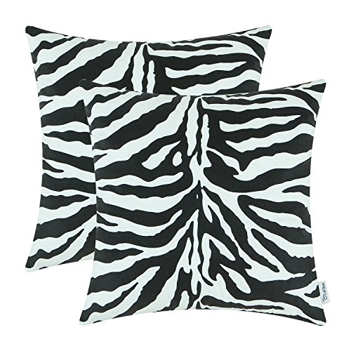 Pack of 2 CaliTime Cozy Fleece Throw Pillow Cases Covers for Couch Bed Sofa 18 X 18 Inches Both Sides, Zebra Striped Print, Black - Chair Zebra Print