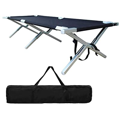 Folding Camping Cot - Portable Outdoor Camping Bed Heavy Duty Military Grade Aluminum Camping Cot Easy Set Up for Adults Holds Up to 450 Lbs + Storage Bag: Sports & Outdoors