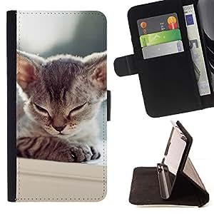 Momo Phone Case / Flip Funda de Cuero Case Cover - Gatito so?oliento del gato de Tonkinese balinesa; - Samsung Galaxy J1 J100