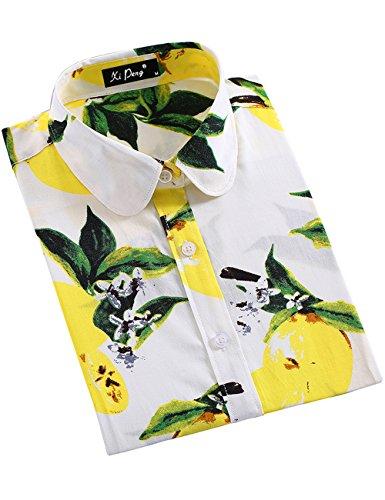 XI PENG Women's Fashion Feminine Tops Blouse Work Button Down Long Sleeve Floral Dress Shirts (Medium, White Lemon)