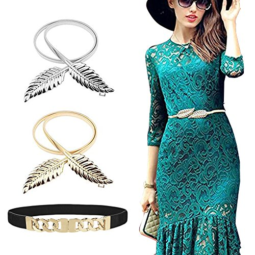 DRESHOW 3 Pack Metal Leaves Belts Roses Floral Elastic Dress Belt Stretchy Waistband for Women Interlocking Buckle