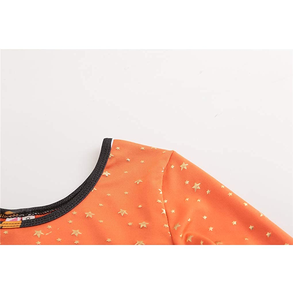 Gymnastic Leotards for Girl Long Sleeve Halloween Pumpkin One-Piece Dance Outfit