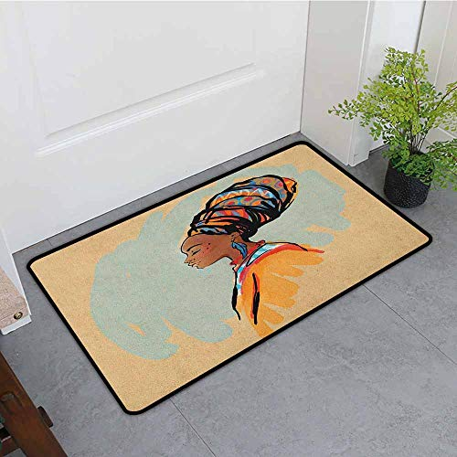 Anhounine African Woman Latex Backing Non Slip Door Mat Watercolor Profile Portrait of Native Woman with Ethnic Hairdo and Earrings Easy to Clean W19 x L31 ()