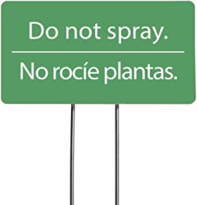 I'm Retired! Do Not Spray Acrylic Yard Sign, Bilingual Plant Signs, Garden Markers, Set of 2 (Green)