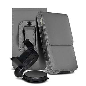 Samsung Galaxy Young S6310 protección pu estuche de cuero de la correa de la pistolera del tirón de la cubierta del sostenedor de la caja con el sostenedor 360 giratorio del parabrisas del coche cuna Grey por Spyrox