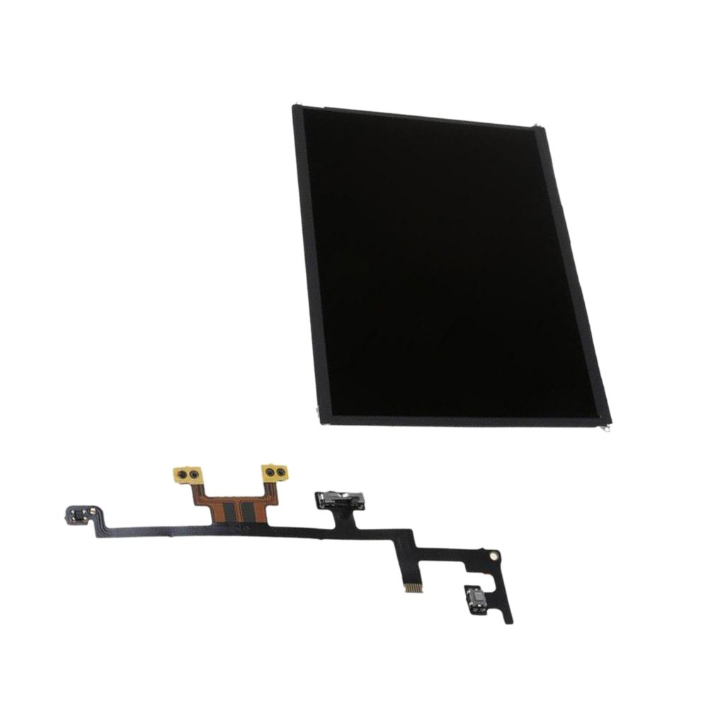 MonkeyJack LCD Display Touch Screen Digitizer Assembly + Power / Volume / Silent / Mute Flex Cable for Apple iPad 3 4