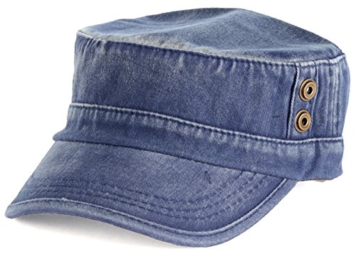 BYOS Classic Washed Military Cadet Army Cap Hat Flap Top Various Styles (Washed (Jeans Hat)