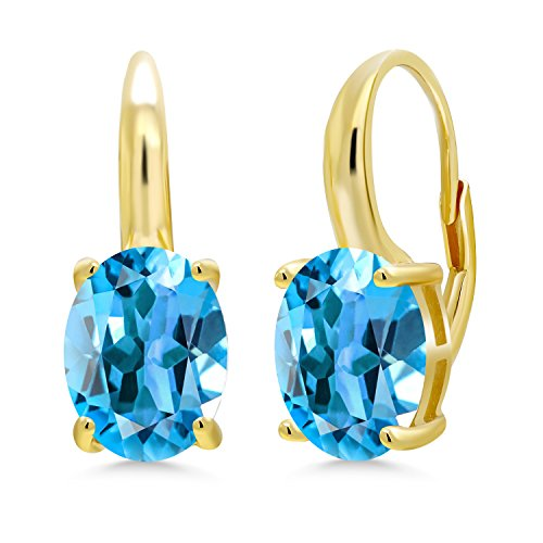 Gem Stone King 5.40 Ct Oval Swiss Blue Topaz 18K Yellow Gold Plated Silver Earrings