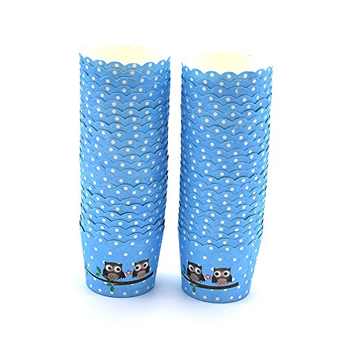 NUOMI Paper Cupcake Liners Baking Wrappers Cups 100 Piece Standard Muffin/Truffle Packaging Cups, Blue -