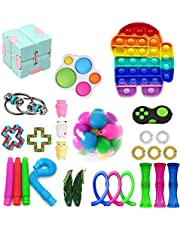 Fidget Pack, 28Pcs Fidget Toys Cheap Fidget Toys Set Sensory Fidget Toys for Kids Adults, Simple Dimple Fidget Toys, Stress Relief and Anti-Anxiety Tools (F)
