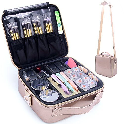 Makeup Travel Case, Makeup Bag Train Case Make Up Organizers And Storage for Cosmetics Jewelry Electronics with Adjustable Shoulder Strap Rose Gold