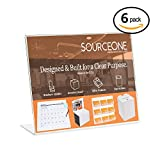 Source One 11 x 8 1/2 Slant Back Clear Acrylic Sign Holder Premium Landscape Ad Frame (6 Pack)