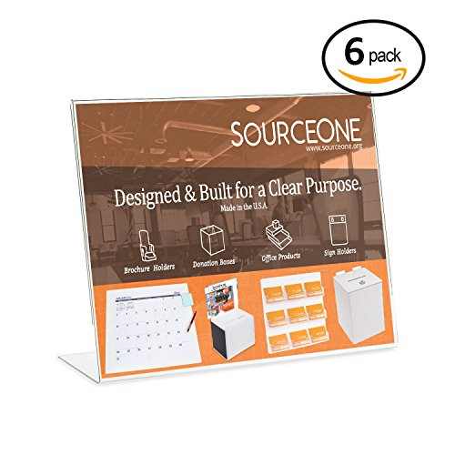 Source One 11 X 8.5 Inches Slant Back Landscape Sign Holder Brochure Holde (6 Pack)