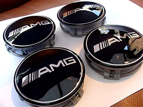ianzhus 4 tapacubos para Mercedes Benz AMG negro CENTER 75 mm C E GLK G SL SLK