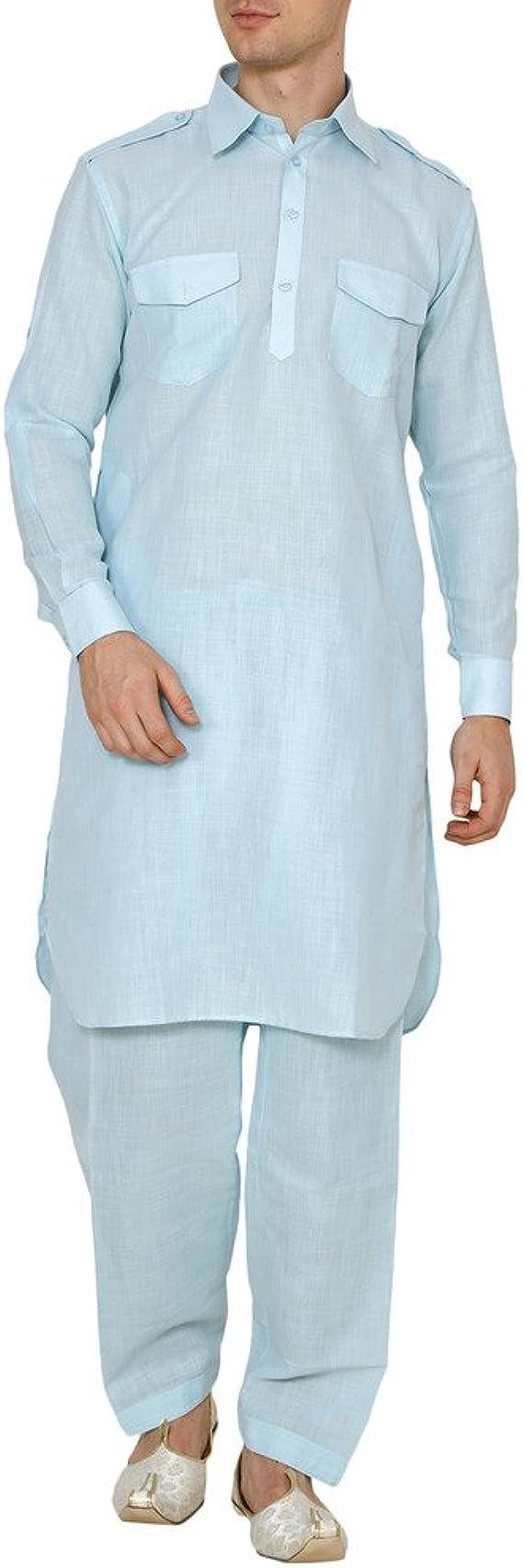 YATHABI Mens Cotton Pathani Suit Traditional Salwar Kameez Eid Kurta Pajama Set