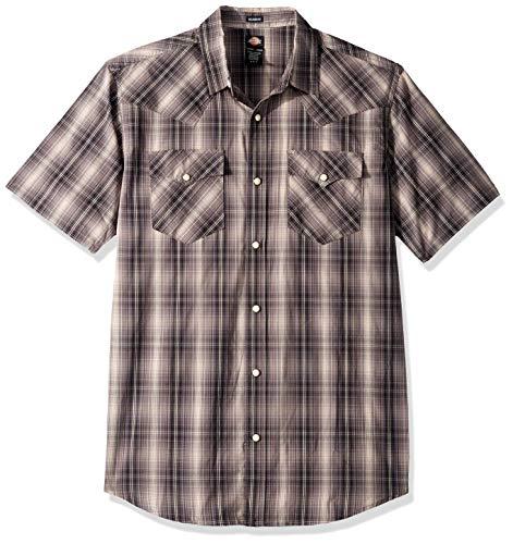 Dickies Men's Short Sleeve Flex Western Shirt, Rinsed Black/Peach Plaid, S
