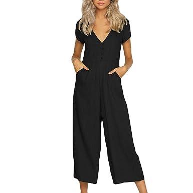 ebe3f930f45e HARRYSTORE Women Women Short Sleeve Button V Neck Jumpsuits Cotton High  Waist Wide Leg Long Romper