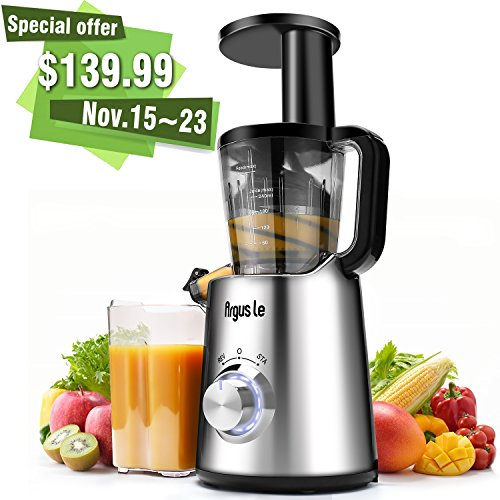 Argue-Le-Juicer-Slow-Masticating-Juicer-Quiet-and-Energy-Saving-150W-DC-Moter-LED-indicator-light-Fruit-and-Vegetable-Juice-Extractor-with-Frozen-Fruits-Sorbet-Attachment-and-Recipe