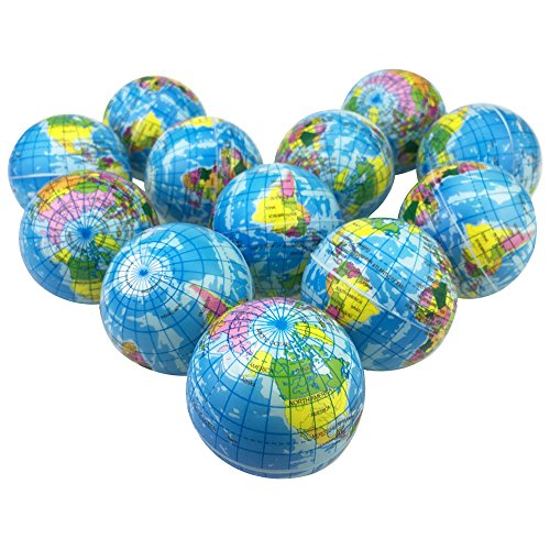 MiMiLive Globe Stress Balls 1 Dozen Earth Foam Squeeze Balls with World Map 2.5 Inch World Stress Ball Earth Stress Relief for Class/Pressure Relief/Party ()
