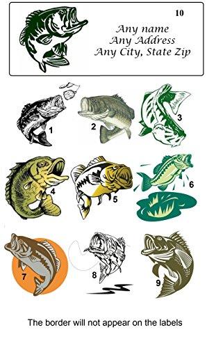 150 Personalized Return Address Labels Fishing Fish Bass (ba 1)