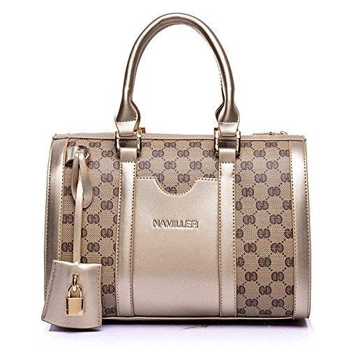 Women Handbag,Women Bag, KINGH Vintage PU Leather Shoulder Bag Purse 2 PCS Set Bag 089 Gold