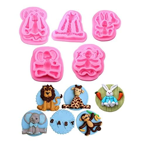 (5 In Set ) Animal Molds Silicone Fondant Cake Decorating Supplies chocolate mold clay mold ——Monkey 、Rabbit、Elephant、Giraffe、Lion