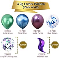 Yiran 46pcs Mermaid Party Metallic Balloons Garland Arch kit for Baby Shower The