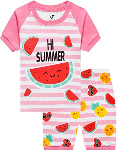 (Children Pajamas for Girls Watermelon Sleepwear Baby Clothes Summer Kids Short PJs Set 6t)