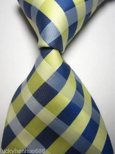 Banana Republican Classic Checks Blue Beige White JACQUARD WOVEN 100% Silk Men's Tie Necktie