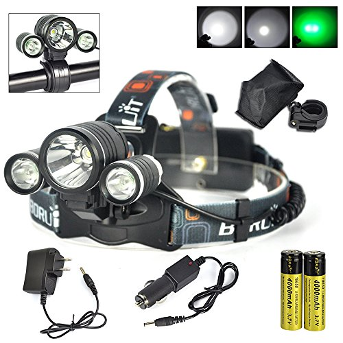 Hunting Led Headlamp – Night Vision Headlamp- 3pcs XML T6 Leds,Rechargeable, Waterproof & 3 Light Modes – Hands-Free Comfortable Wearing Headlights- Best Night Bike Headlamp