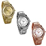 JewelryWe 3 PACK Luxury Mens Dress Watches Stainless Steel Bling Rhinestones Accented Quartz WristWatch