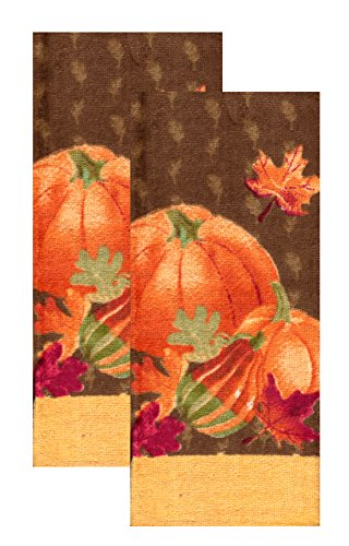 Kitchen Towels Fall Pumpkins Autumn Leaves,